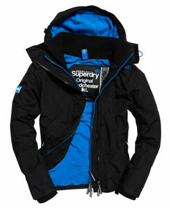 New-Mens-Superdry-Pop-Zip-Hooded-Arctic-SD-Windcheater-Black-Denby-Blue