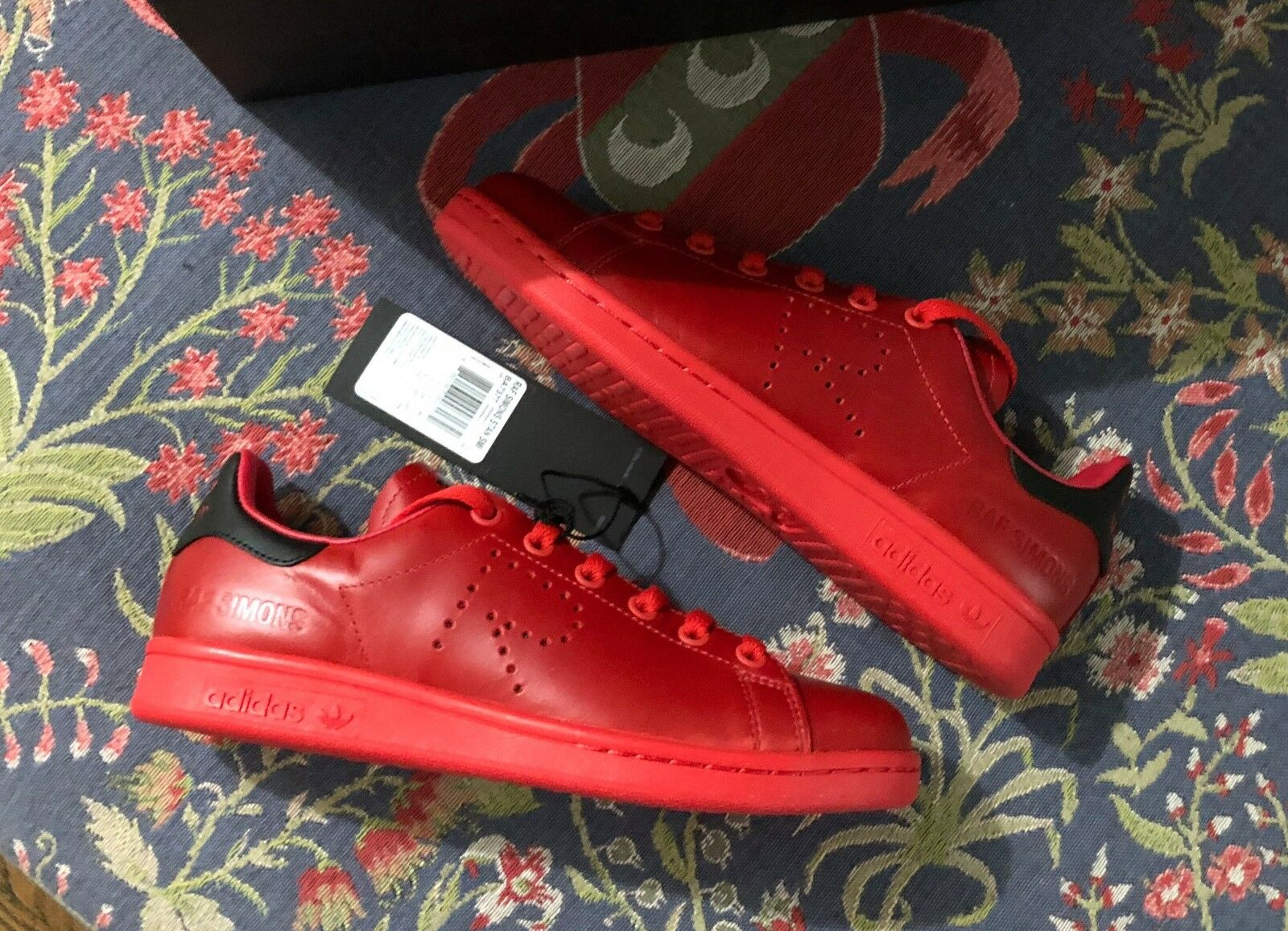 Adidas x Raf Simons Stan Smith Red Black Leather Sneakers Size 4.5 New