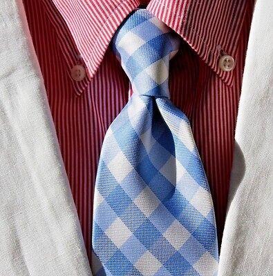 Tommy Hilfiger Gentleman's Sky Blue & White Gingham Check All Silk Print Necktie