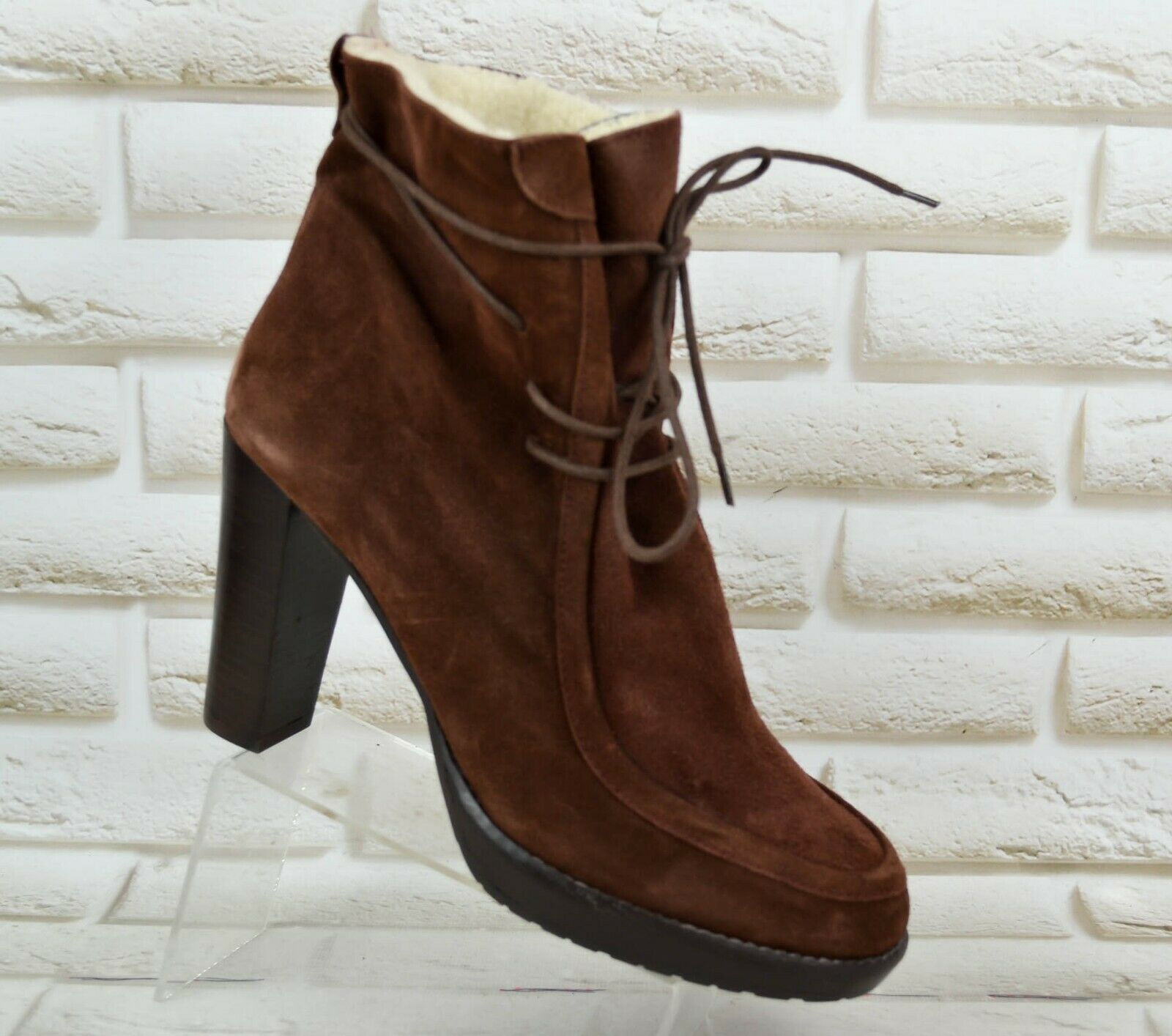 HOBBS N.W.3 Womens Brown Suede Heeled Boots shoes Made In Spain Size 7 UK 40 EU
