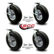 12 Inch Black Pneumatic Wheel Caster Set 4 Swivel With Swivel Locks 2 With Brake