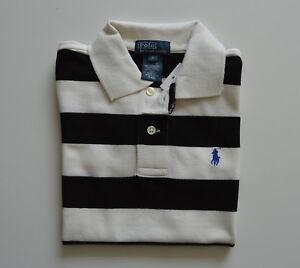 new arrival 85467 18ee1 Details zu RALPH LAUREN Jungen Polo-Shirt Poloshirt Schwarz Weiß gestreift  Gr 6 Jahre NEU