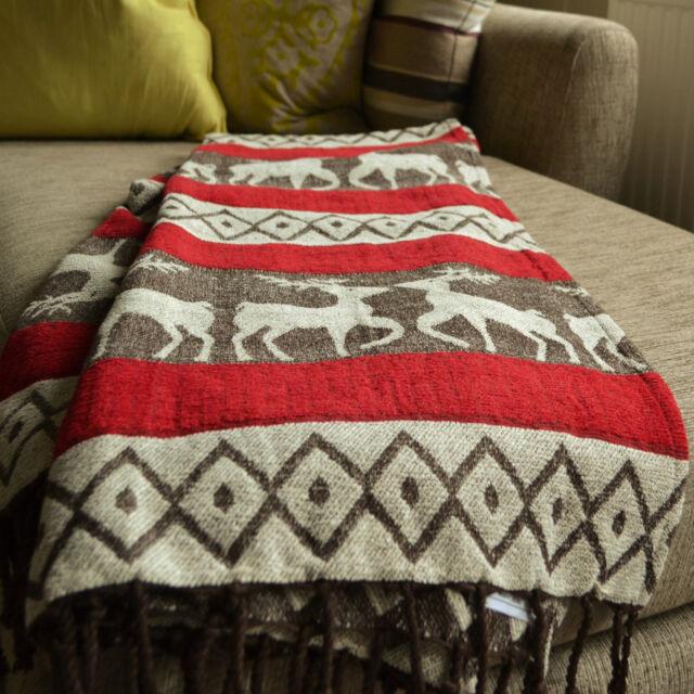 Deer Throw Blanket Reindeer Winter 180cm x 130cm Chenille Luxury 100% Cotton