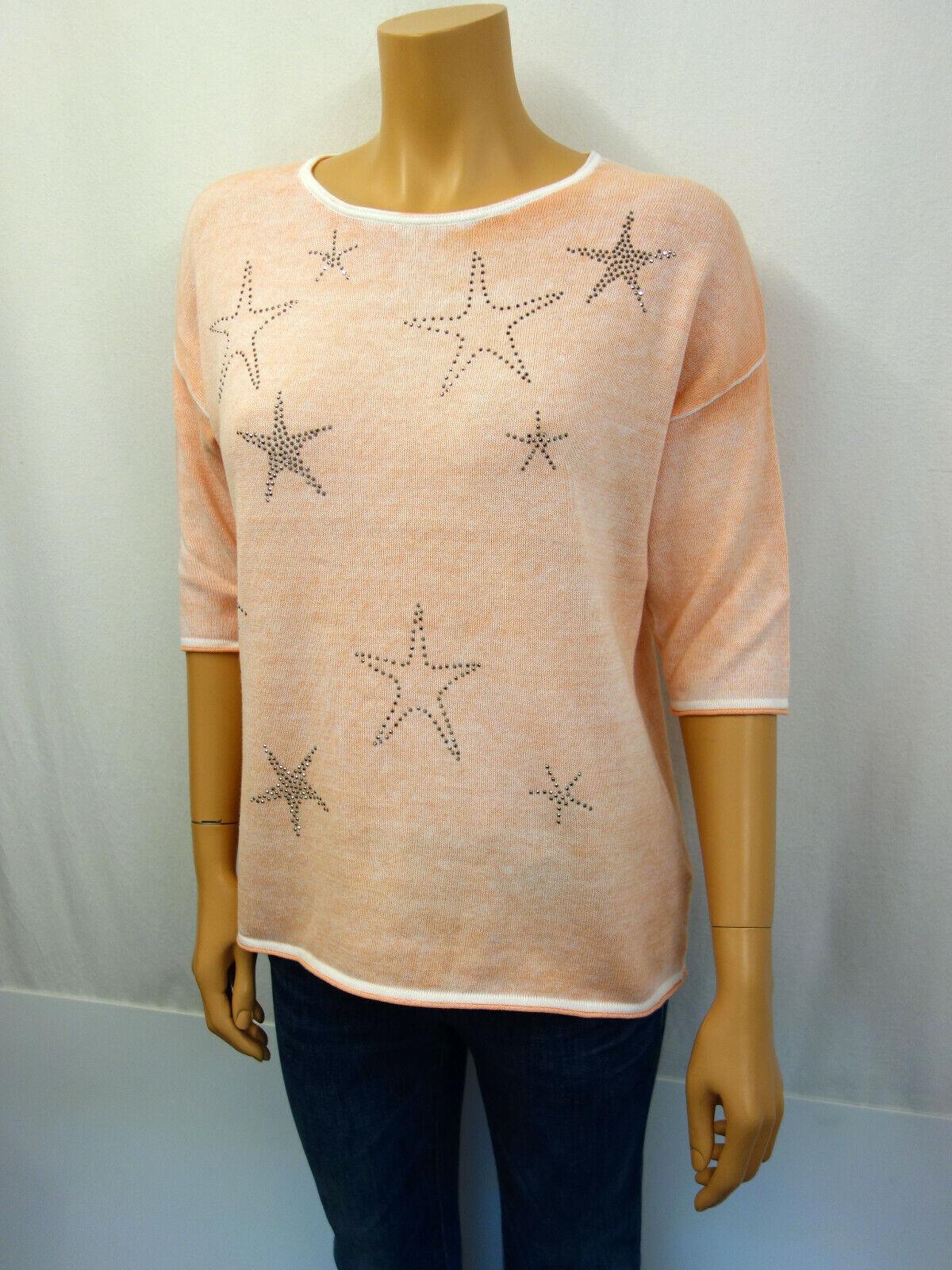 Six O Seven Pull Tricot Shirt Taille 42 Coton Strass étoiles Pêche Peach