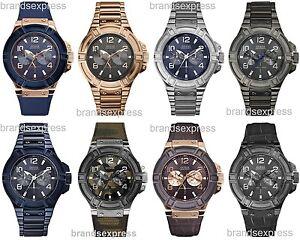 Guess-Rigor-Mens-Watch-Blue-Black-Brown-Dial-Bracelet-Leather-Strap