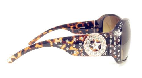 Texas West Star Round Concho Rhinestone Western Bling Sunglasses UV 400 Lens