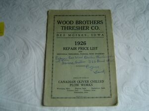 Wood-Brothers-Thresher-Co-Threshers-Feeders-Wind-Stackers-Repair-Parts-List-Book