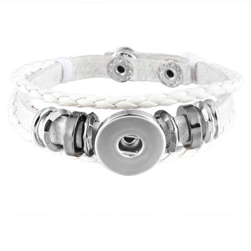 5 Bracelet Breloque Multilayer Cuir PU Blanc pr Bouton Pression DIY 21cm