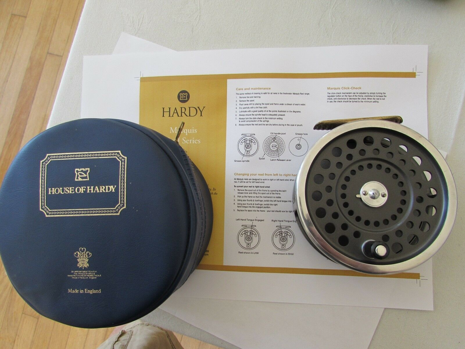 V good vintage original Hardy Marquis no. 2 salmon fly fishing reel ..& case .