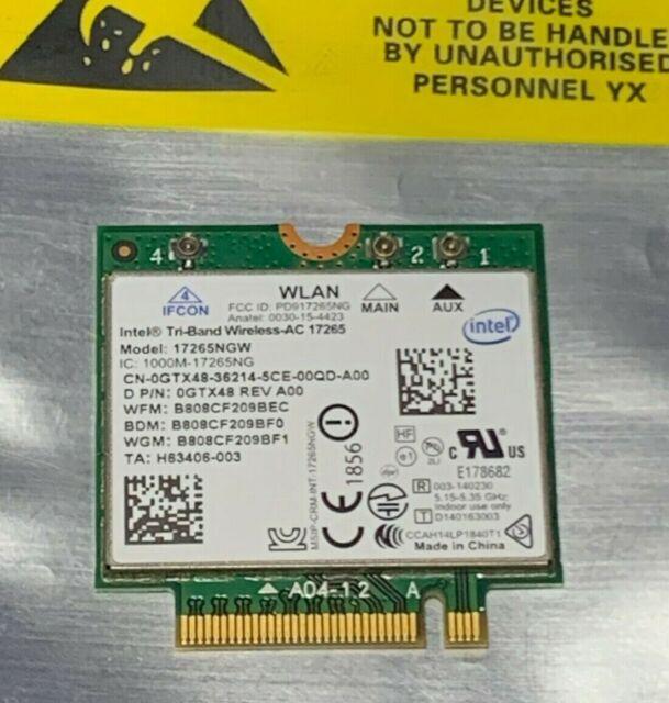 DELL intel Wireless-AC 17265 WLAN WIFI 17265NGW Bluetooth 4.0 Card GTX48 1000M
