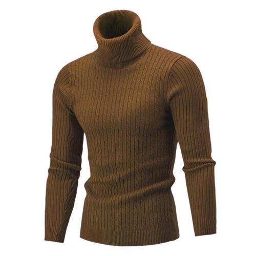 Winter Men Slim Warm Knit High Neck Pullover Jumper Solid Sweater Top SY ^