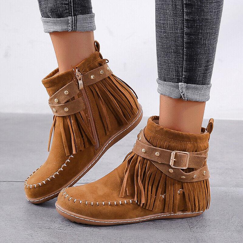 Ladies Faux Suede Tassels Ankle Boots Cowboy Flat Low Heels Comfort Zip Shoes