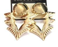 Clip-on Earrings Shiny Geometric Gold Or Silver Tone Earrings 1.5 W And 2 In L