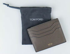 NWT TOM FORD Beaver Brown 100% Leather Open Side Card Holder Wallet $290