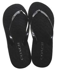a6caa424cd99 COACH Black Abigail Turnlock Signature Logo Flip Flops Sandals NEW Women s 8