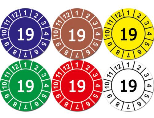 Aufkleber Prüfplaketten Jahresplaketten 19 ROT mit Sicherheitsstanzung GLANZ
