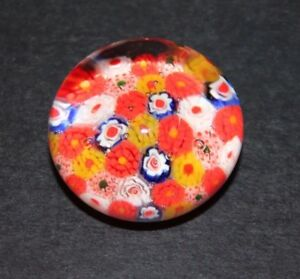Vintage-Millefiori-Art-Glass-Mini-Paperweight-White-Blue-Orange-Yellow-Canes-2-034