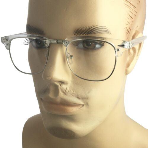 Transparent Frame Eye Glasses Vintage 80 Half Retro Clear Lens Gold Hipster Nerd