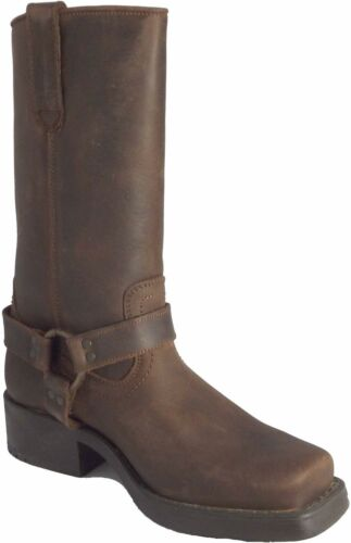 Woodland Mens Harley Western Harness Distressed Leather Tall Cowboy Biker Boots