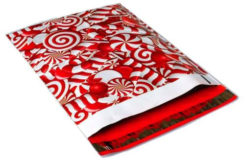 100 Candy Cane Christmas Red Hearts Designer Mailers Poly Shipping Envelopes Bag