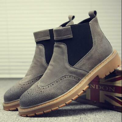 Men Slip On Work Chukka Shoes Walking Hiking Welding Tooling Ankle Boots Pull On