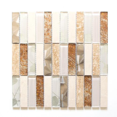 Mosaikmatte Mosaikfliesen Mosaik Rechteck Crystal|Stein|Stahl mix beige glänzend