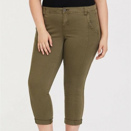 Torrid Size Nwt Plus Twill Green Crop 26 Olive Capri Army Stretch Pants Skinny rzCqr