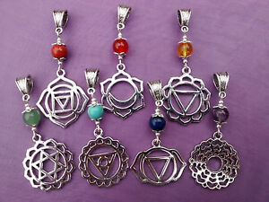 Details about 7 CHAKRA REIKI YOGA SIGN SYMBOLS with HEALING CRYSTALS  PENDANT & Necklace
