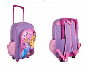 519f13898370 New Disney PRINCESS kids girls school travel and trolley wheeled ...
