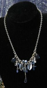 Great silver tone metal necklace with various blue shaded and clear beads - Newent, United Kingdom - Great silver tone metal necklace with various blue shaded and clear beads - Newent, United Kingdom