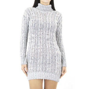 Grey-jumper-Dress-Polo-Neck-Cable-Knit-Long-Sleeve-Womens-Ladies-Sweater-Stretch