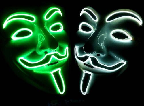 Light Up LED Guy Fawkes for Vendetta Mask EL Wire Mask Rave EDM Halloween Party!