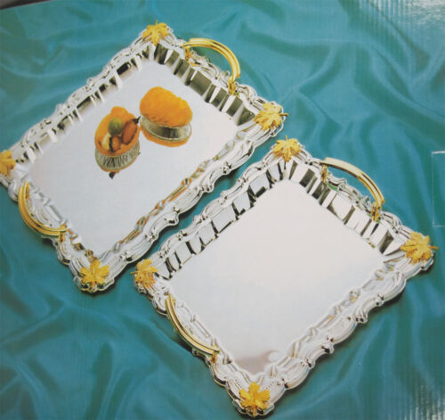 2-Set Reflective Shine Rectangular Serving Tray with Gold Handle