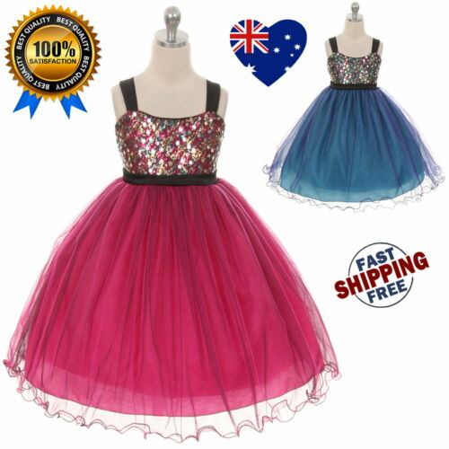 New Sequin Girls Dress Flower Girl Dress Girls Tulle Party Dress Size 2 to 14