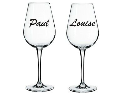 VINYL DECALS 2 x NAMES OR WORDS STICKERS FOR WINE GLASS AVAILABLE IN 24 COLOURS