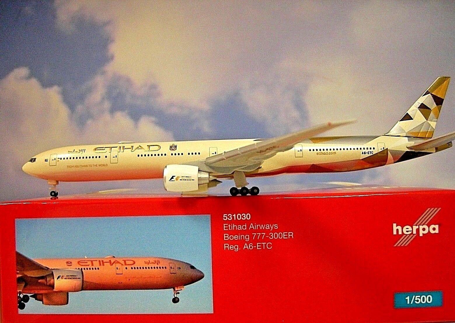 Herpa Wings 1 500 Boeing 777-300ER Etihad Airways A6-ETC 531030 Modellairport500