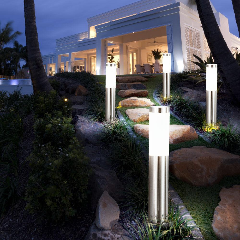 4x lampadaire LED luminaire pied lampe DEL 11W éclairage terrasse jardin inox