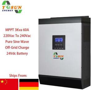 3Kva Solar Wechselrichter 2400W MPPT AUS Gitter Reine Sinuswelle 60A Aufladen