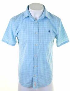 PENGUIN-Mens-Shirt-Short-Sleeve-Medium-Blue-Check-Cotton-Classic-Fit-BK15