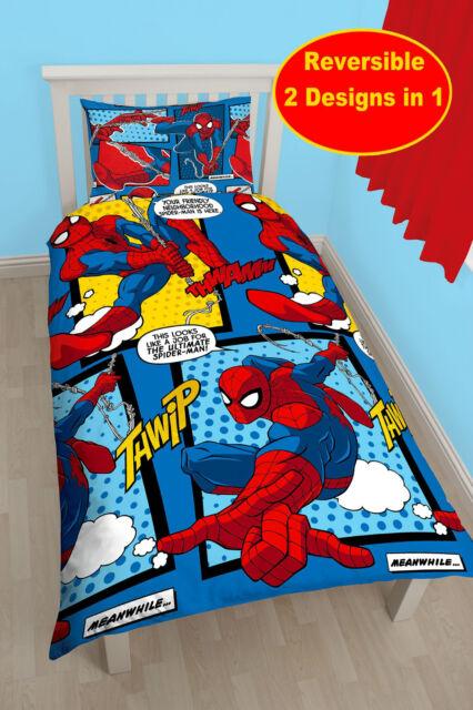 Nuevo Marvel Spiderman Telaraña Funda Edredón Individual Juego Azul Niño Rojo