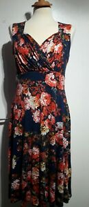 Lindy-Bop-Bridget-Vestido-Floral-Print-Azul-Naranja-Tamano-12-Reino-Unido-sin-mangas