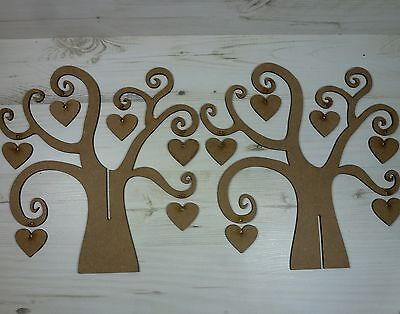 Tree FAMILY 3d SWIRL WORD 12 HEARTS names plaque craft wood wall art MDF Wooden