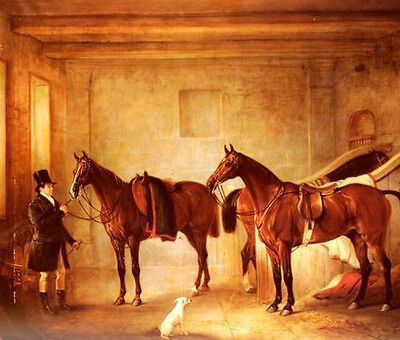 Oil painting red Horse in a Stable canvas free shipping cost for all customers