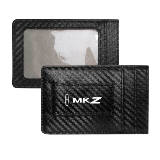 Lincoln MKX Black Carbon Fiber Leather Wallet RFID Block Card Case Money Clip