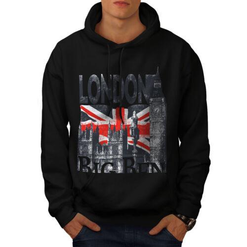 Wellcoda London Mens Hoodie, Big Tower Casual Hooded Sweatshirt