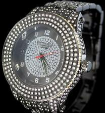 56mm Black Chrome 800+ Simulated Diamonds Techno King Bling Mens Large Watch