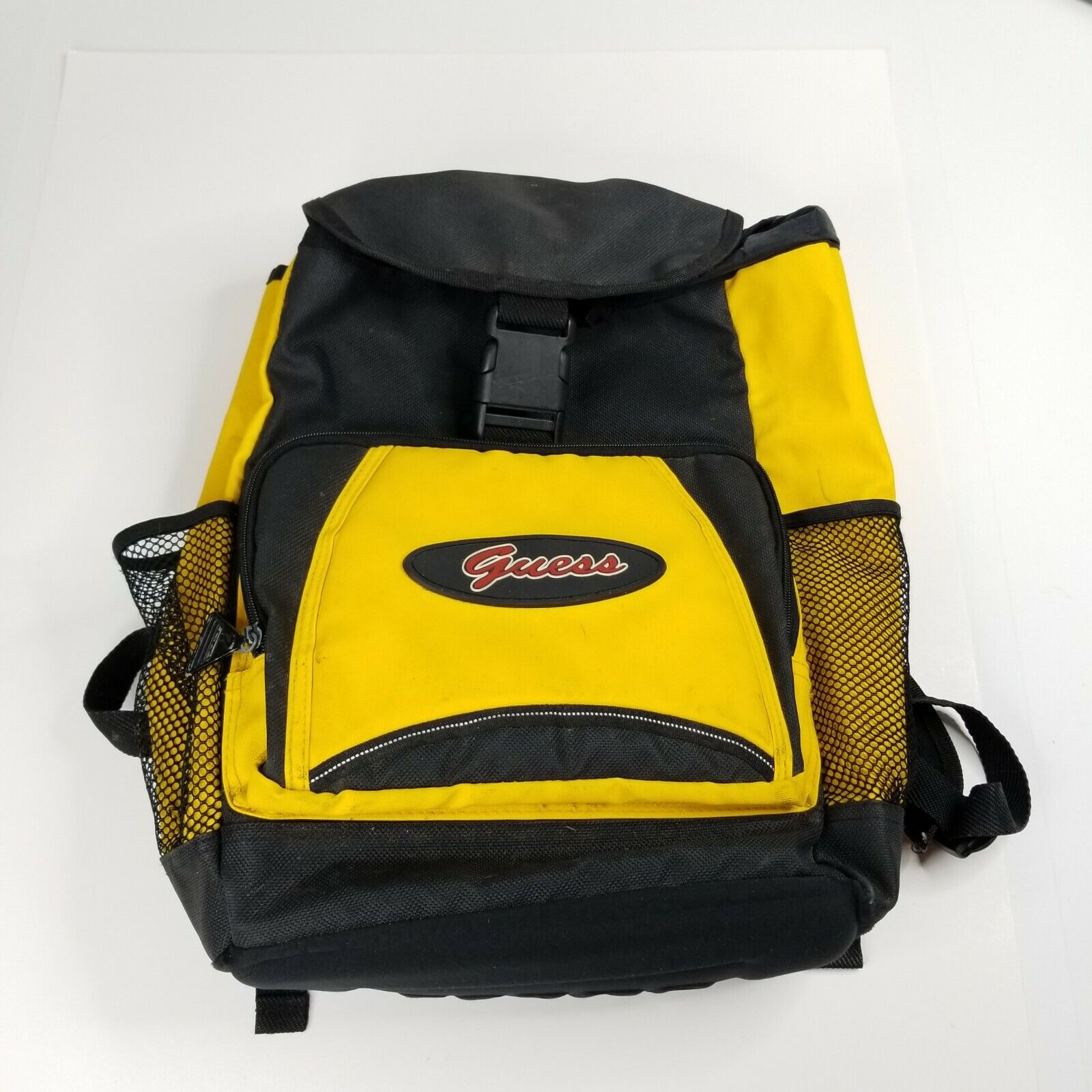 Vintage Guess Pvc Backpack Yellow Black