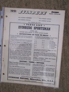 1951 Evinrude Sportsman 4425 Outboard Motor Parts List See More In Our Store L Ebay