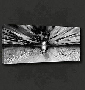 Details About Abstract Black White Sunset Modern Canvas Print Wall Art Picture Ready To Hang