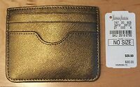 Women's Neiman Marcus Gold/bronze Leather Card Case Keeper/holder